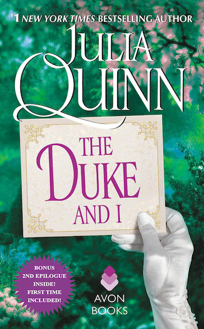 Green cover with a silk-gloved hand holding up a notecard that says The Duke and I